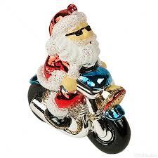 Motorcycle Santa Christmas Ornament Image