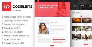 Portfolio Website Templates Beauteous CODER BITS Personal Bootstrap Portfolio Template Parallax By Uigrid