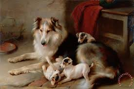 a collie with fox terrier puppies painting walter hunt a collie with fox terrier puppies