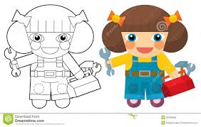 Cartoon Character Girl Mechanic Coloring Page Stock Illustration