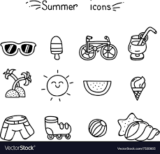 Summer Icons Set Of Cute Summer Icons