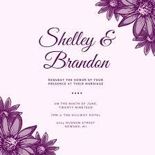 Wedding Invitations Templates Purple Purple Floral Wedding Invitation Templates By Canva