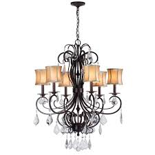 world imports annelise 6 light bronze chandelier with fabric shades and crystal drop accents