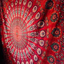 peacock red mandala tapestry hippie