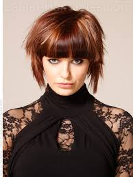 heavy bang short hairstyle for thick hair