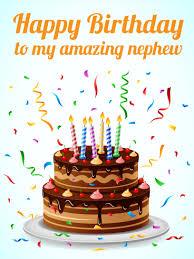 To My Amazing Nephew Happy Birthday Card Cake Check Confetti