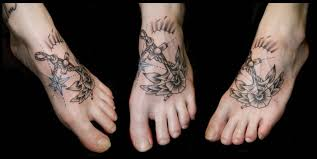 Stylish Thrreesome Leg Anchor Tattoo
