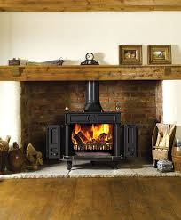 fireplace fancy country living room decoration with flueless wood burning stoves along with brick fireplace insert and wood slab mantel decoration