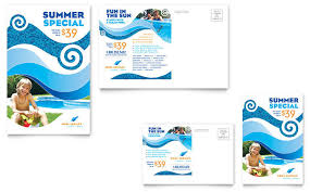 Swimming Pool Cleaning Service Postcard Template Design