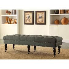 entry hall furniture. Upholstered Tufted Bench Wheeled Bedroom Seat Fabric Entryway Hallway Table Entry Hall Furniture Bench:
