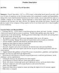Payroll Specialist Job Description