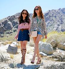 sydne summer and haute pink pretty wear boho fashion for coac festival with gladiator sandals