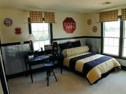 corrugated metal wainscoting decorative sheet metal panels contemporary kids and bedroom beige carpet black desk black