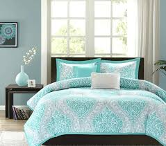 impressing white and teal bedroom on grey