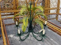 vintage tole palm frond chandelier palm beach regency
