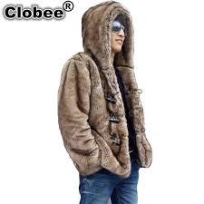 2019 winter men faux mink fur hooded artificial fur coats male horn on fur outerwear 2019 plus size