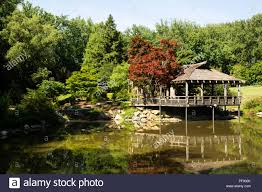 the japanese tea house overlooking the pond at brookside gardens in wheaton maryland
