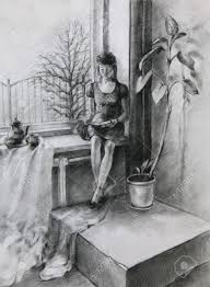 window pencil drawing. young woman sitting near a window and reading book. it is pencil drawing 1