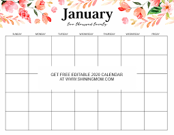 Word 2020 Calendars Free Fully Editable 2020 Calendar Template In Word