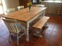 large chunky farmhouse dining kitchen table 4 chairs bench