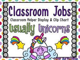 Usually Unicorns Classroom Jobs Display Clip Chart