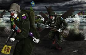 circus clowns storming the beach at normandy oc