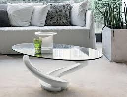 minimalist oval glass coffee table