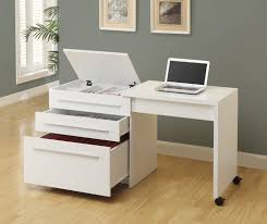 glossy small white desk on wheels with stylish slide out drawers deskonwheels slideoutdesk