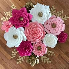 Rose Flower With Paper 30cm Paper Flower Backdrop Wall Large Rose Flowers Diy Wedding Party