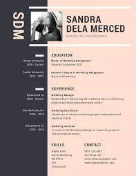 Modern Marketing Resume Peach And Black Modern Resume Templates By Canva