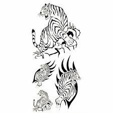 1ks černý Tygr Vodotěsný Tetování Ukázka Formy Dočasné Tetování Nálepka Pro Zdobení Těla 185 Cm 85 Cm