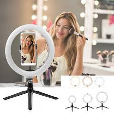 Selfie Ring Light For Makeup Portable Ring Light Led Makeup Ring Lamp Usb Selfie Ring Lamp Phone Holder Tripod Stand Photography Lighting