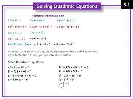 solving quadratic equations factoring monomials first