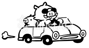 車で走るいのしし親子白黒イラスト No 1259049無料イラストなら