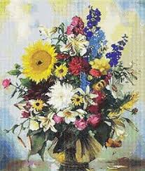 Vase Of Flowers Counted Cross Stitch Pattern 276 Floral