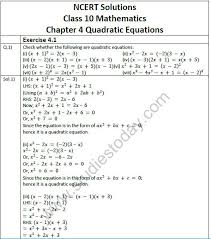 ncert solutions class 10 mathematics chapter 4 quadratic equations