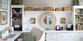 office decoration ideas. use wicker baskets on floating shelf inside traditional office decorating ideas with tufted chair and white decoration m