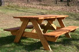 diy solid wood picnic table with attached bench seat in the backyard garden house design with green grass ideas