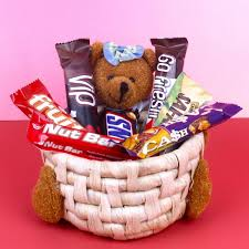 teddy imported chocolate basket