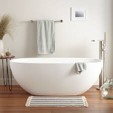 bathroom glamour ideas with modern resin bathtubs design