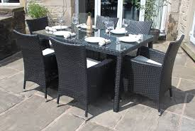 garden dining furniture rattan. weatherproof rattan 6 seater garden furniture dining set in black: amazon.co.uk: \u0026 outdoors c