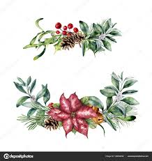 Aquarell Weihnachts Floral Dekor Handgemalte Weihnachten