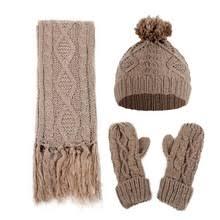 Вязаные зимние шапки для женщин, шапка, шарф, перчатки ...