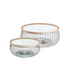 set of 2 iron wood glass coffee cage