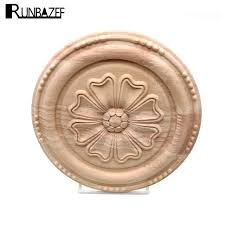 appliques for furniture. runbazef wood carving circular appliques for furniture cabinet unpainted wooden mouldings decal home decor decorative figurine