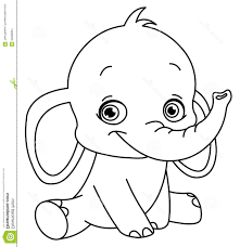Cute Baby Elephant Cartoon Coloring Pages