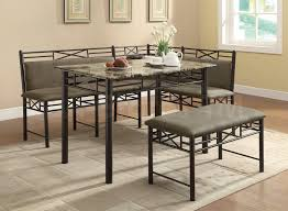 dining table set with bench and floor grey full size