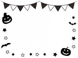 ハロウィンとフラッグガーランドの白黒フレーム飾り枠イラスト 無料
