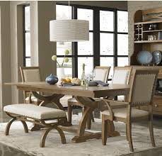 hardware dining table exclusive:  piece trestle table set with  upholstered chairs amp dining bench