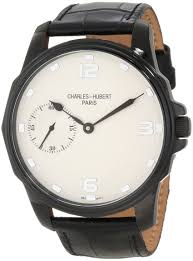 mens charles hubert ip black stainless steel leather band 50mm mens charles hubert ip black stainless steel leather band 50mm watch